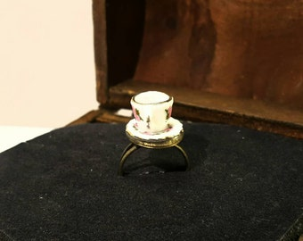 Ring with mini coffee cup