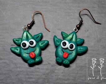 stylized marijuana leaf-shaped earrings-laflin-fimo
