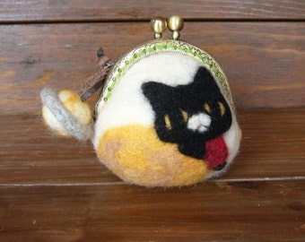 Needle Felted Coin Purse *on the moon*