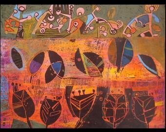 landscape drawing 42 x 56 cm