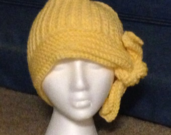 Yellow cloche hat with tie