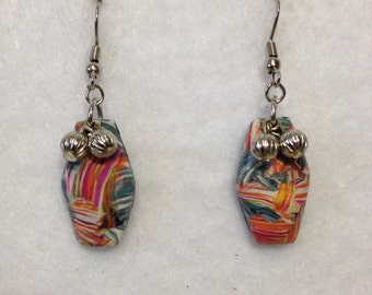 Earrings -Multi Color w/silver accents