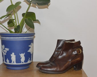 Vintage Brown Ankle Boots / Bally / Genuine Leather / Size 38
