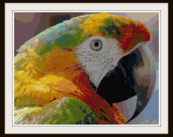 Parrot Cross Stitch Pattern - Bird Cross Stitch - PDF Download