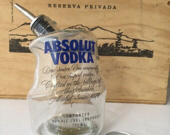 Absolut vodka oil vinegar pourer drizzle. Drunken bottle