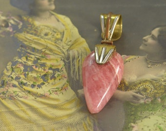 Gilded Pink Agate Pendant 10x35 5.1g Sterling Silver