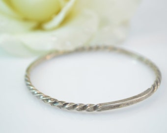 Artisan Twisted Bangle Bracelet Sterling Silver 12.9g Vintage Estate