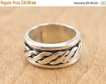ON SALE Braided Spinning Inlay Band Ring Size 9.5 Sterling Silver 11.1g Vintage Estate