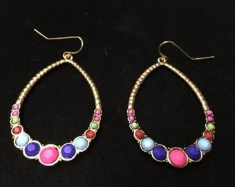 Vintage Earings, Pierced, Goldtone, Beads, Colorful