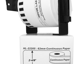 """6 Rolls of HouseLabels BROTHER-Compatible 2205 Continuous Labels With 1 Reusable Cartridge (2-4/9"""" x 300') -- BPA Free!"""