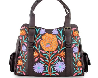 Leather handbags with crewel embroidery