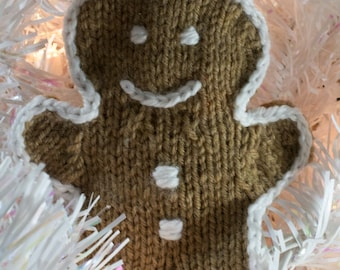 Hand Knitted Gingerbread Man Ornament