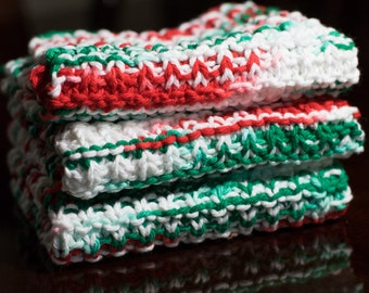 Hand Knit Dishcloth Set - Hand Knit Washcloth - Christmas Mix