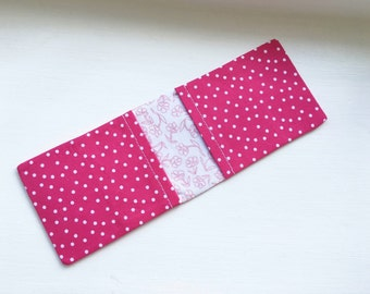 Oyster Card Holder - Pink Fabric With White Polka Dots/ Credit Card Wallet / Business Card Case