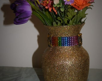 Gold and rainbow vase