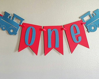 Train first birthday banner, highchair banner