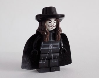 V for Vendatta custom minifigure *anonymous Guy Fawkes mask*