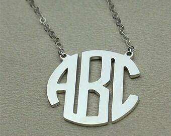 Circle initial necklace, custom 3 initial necklace, circle letter necklace, personalized initial necklace, sterling silver initial necklace