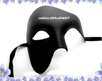 Black Phantom of the Opera Half Face Men Masquerade Mask