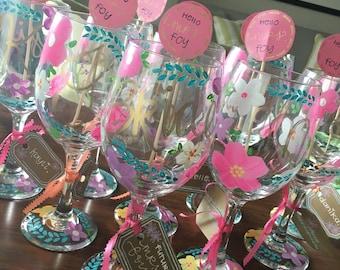 Handpainted Bride/Bridal party wine glasses