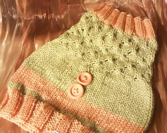 Girls' Pink and Silver, Convertible, Honeycomb Cable Knit Cowl with Buttons