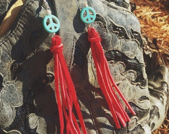 Peace and Fringe earrings
