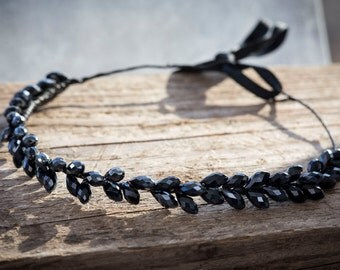 Black wreath for hair with beads, wreath, diademas, crown for princes, wreath for photosession,wreath for party, wreath for celebration
