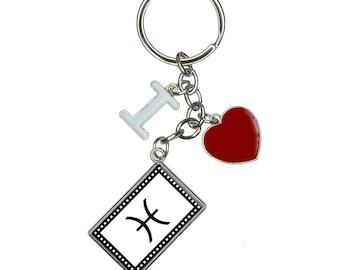 Zodiac Sign Pisces I Heart Love Keychain Key Ring