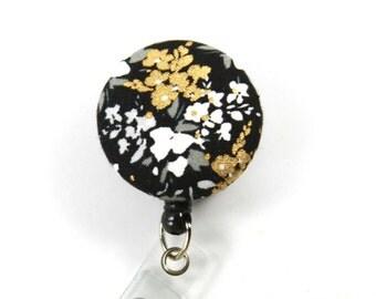 GOLDEN FLOWER Badge Reel, Black and Gold Badge Reel, Button Badge Reel, Retractable Badge Holder