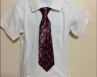 Playing cards elastic band necktie for children. King of hearts, spades, diamonds necktie.