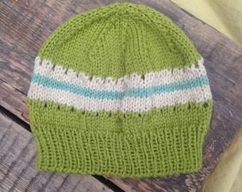 Eyelet & stripe woollen baby beanie - 0-3 months size