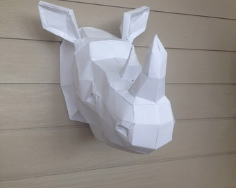Trophy head of rhino white mounting paper