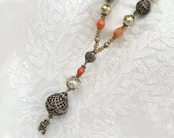 Sparkling VINTAGE STYLE BOHO necklace with pendant