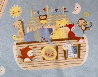 Noah's Ark  Minky Baby Blanket with yellow flannel backing Noahs Ark Bedding Gift for Baby Gift for Girl Gift for Girl