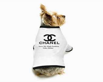 New Chanel, LV, YSL, Inspired Dog T-Shirt are 100% cotton High Fashion Style For All Lovely Doggie