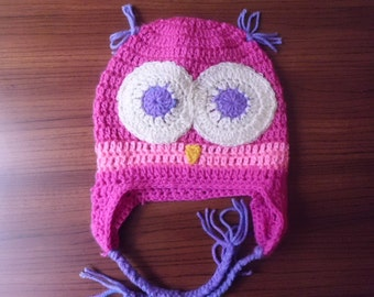 Babies Owl Hat With Earflaps - READY TO SHIP