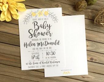 Baby Shower Invite - Yellow Flower