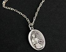 Padre Kolbe Necklace. Christian Necklace. St Maximilian Kolbe Medal Necklace. Patron Saint Necklace. Catholic Jewelry. Religious Necklace.
