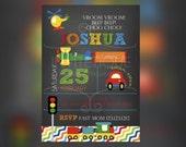 Transportation Birthday Invitation - Cars birthday invitation - cars and trucks birthday Invitations - First Birthday invitations