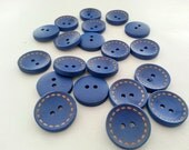 10 pcs. WOODEN blue painted sewing bottons, circle around line, blue color botton, bottons painting 20x20 mm.