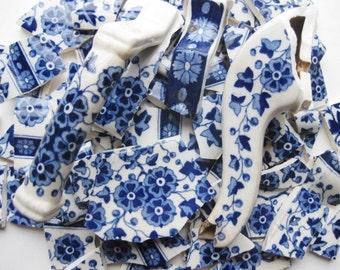 Mosaic Tile Pieces- Focal Mosaic Tiles- Hawthorn Porcelain- Blue Floral Tiles- Hand Cut Tiles- #222