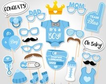 Baby Shower Photo Booth Props - Printable Photo Booth Props - It's a Boy Baby Photo Booth Props - Team Blue Baby Boy Printable Party Props