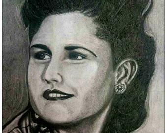Original 'Brenda' charcoal and pencil drawing