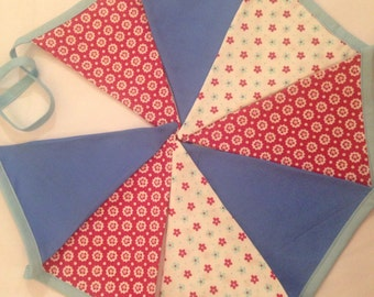 Bunting, banner, baby room garland. triangle bunting, double sided. shabby chic deco, pink bunting. blue bunting.