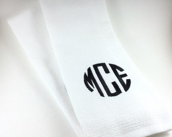Personalized Kitchen Dish Towel, Monogrammed Kitchen Dish Towel, Embroidered Kitchen Dish Towel, White Kitchen Dish Towel Set