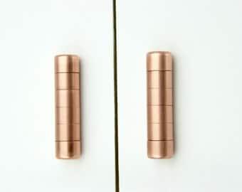 Modern Copper Ridged Knob. Contemporary Drawer Pull, Handle, Cabinet knob. Kitchen Cabinet knob. Kitchen Door Handle.