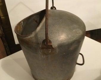 Galvanized farm Vintage milk pail