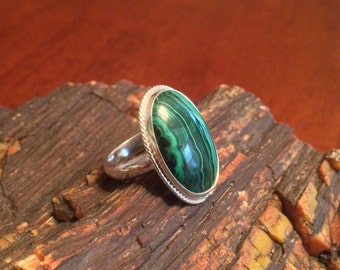 Malachite and Sterling Silver ring