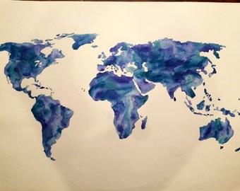 World map watercolor painting