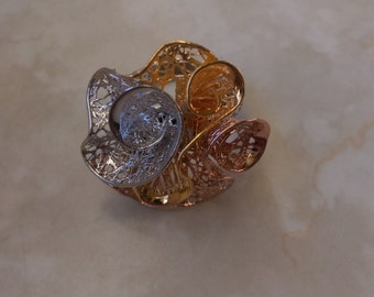 Electrofusion Tri-Color Silver Flower Ring